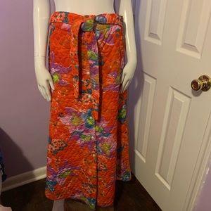 True Vintage Quilted Maxi Skirt Belt Boho Hippie